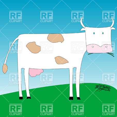 Funny Cow Eating Grass Download Royalty Free Vector Clipart  Eps