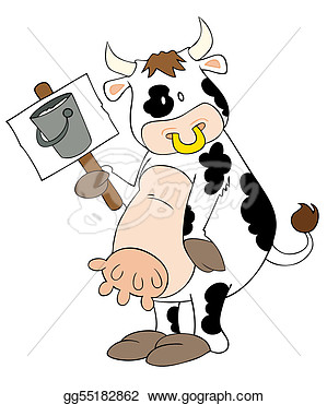 Illustration   Funny Dairy Cow With Placard   Clip Art Gg55182862