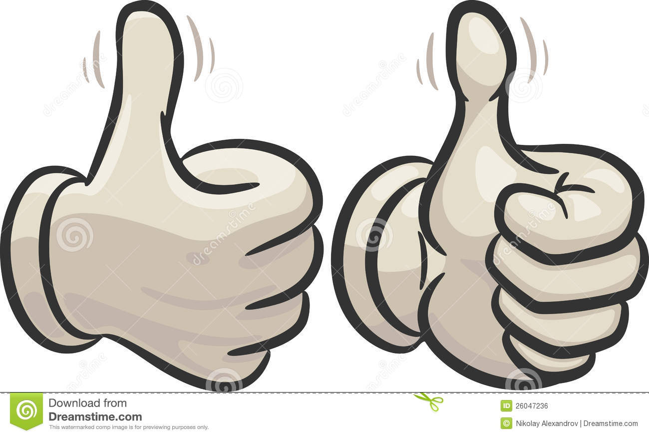 Left And Right Hand With Raised Thumbs Up Showing A Sign Of A Very