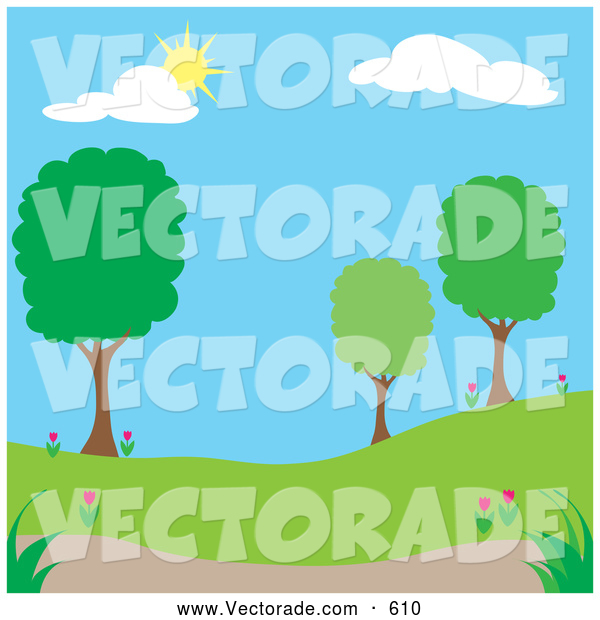 On A Spring Time Park With Trees On A Nice Day By Pams Clipart    610