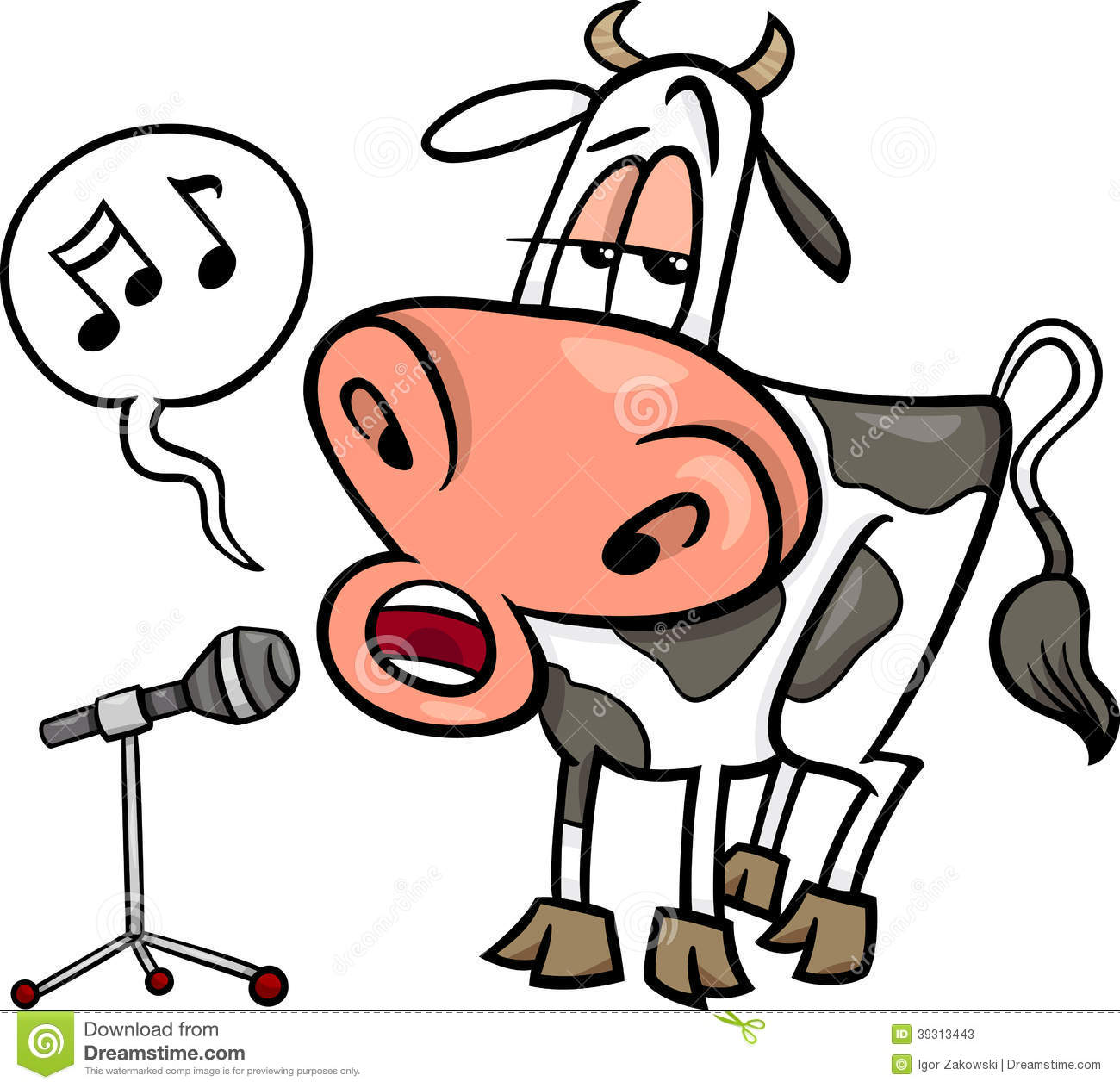 Singing Cow Cartoon Illustration Stock Vector   Image  39313443