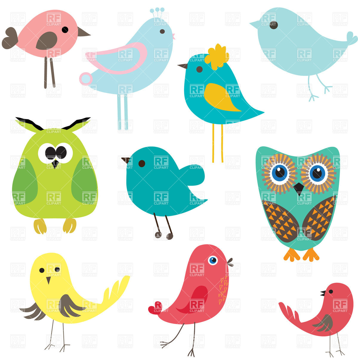 Stylized Cute Cartoon Birds 21245 Plants And Animals Download