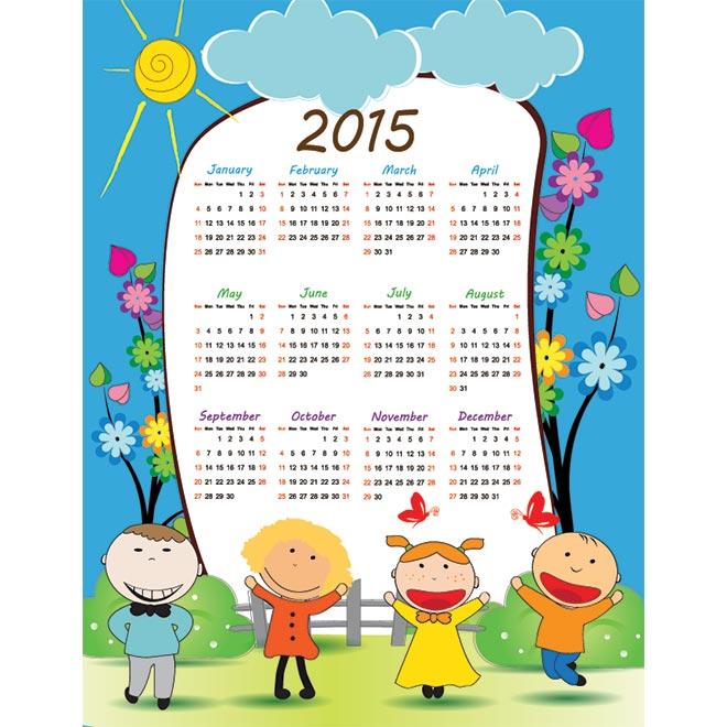 2015 Vector Calendar 1066 School Kids Flower Background 2015 Vector