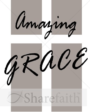 Amazing Grace Cross   Cross Word Art