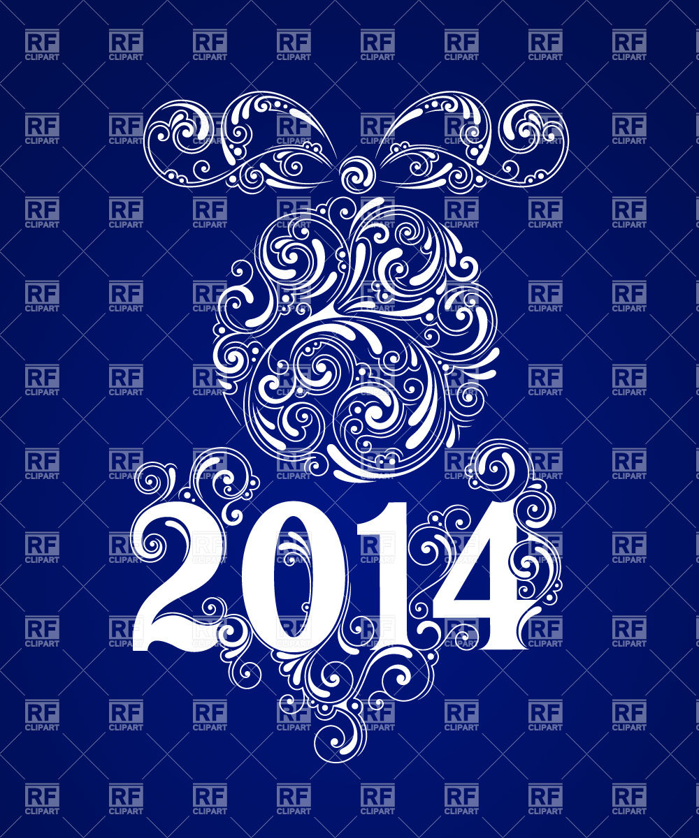 Blue Background   2014 New Year Download Royalty Free Vector Clipart