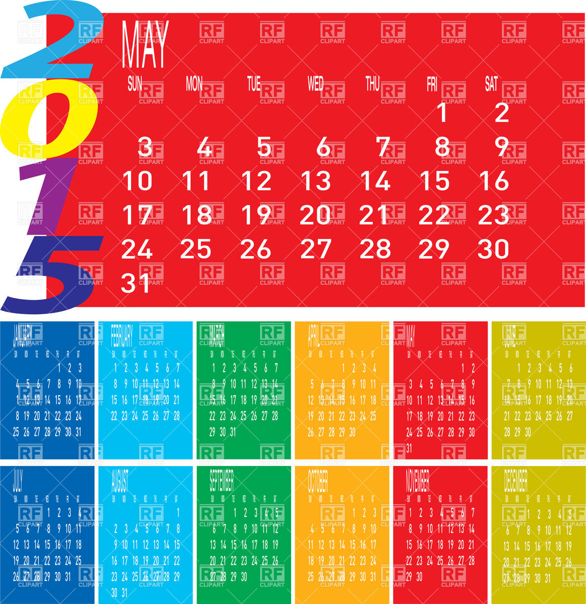 Calendar 2015   May 37550 Download Royalty Free Vector Clipart  Eps