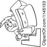 Cartoon Clipart Of A Black And White Mover Boy Carrying A Couch Up