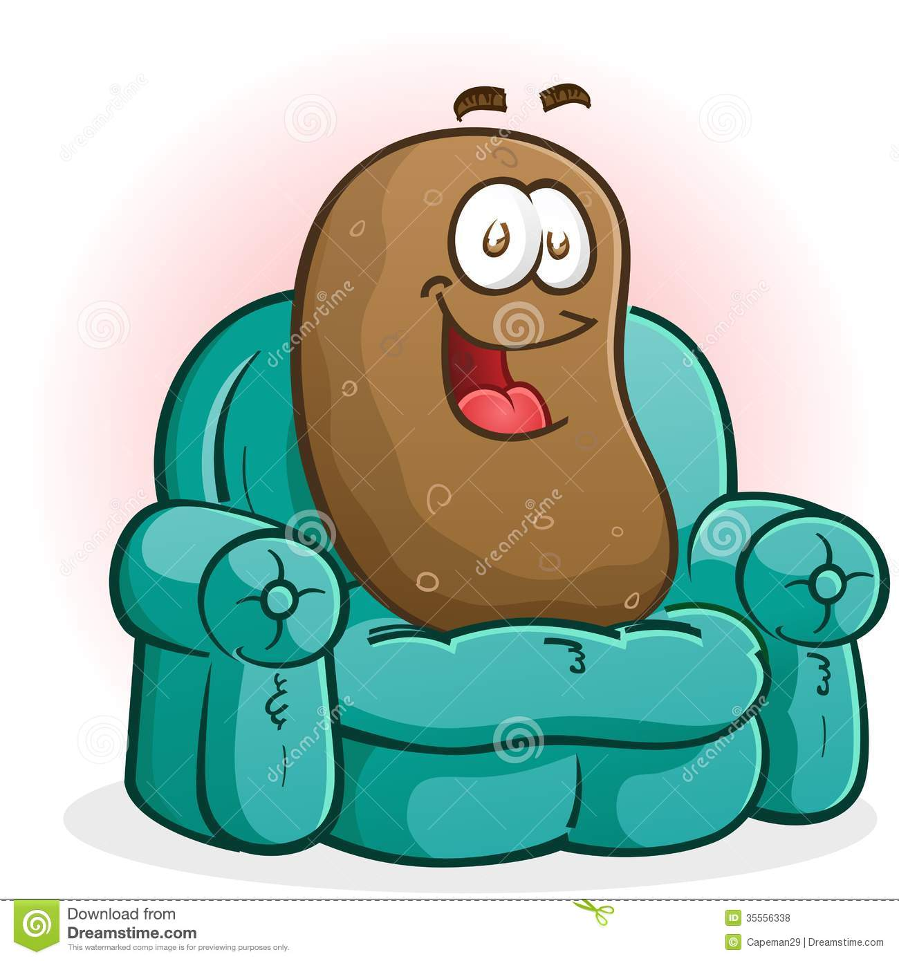 Couch Potato Cartoon Character Sitting On The Couch Watching Tv