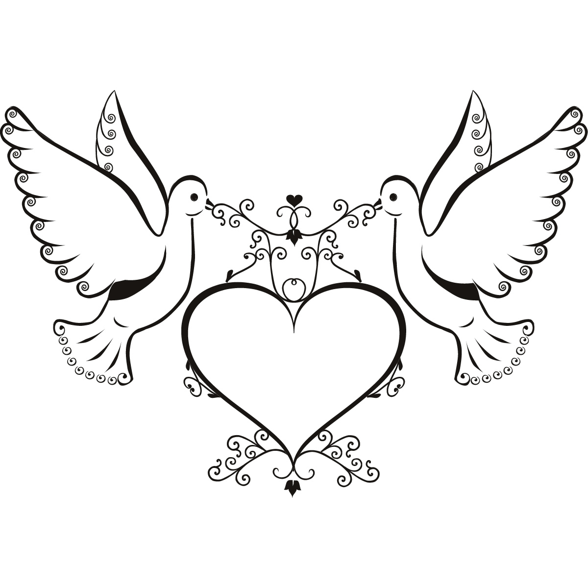 Doves And Love Heart Wall Art Sticker Wall Decals Transfers   Ebay