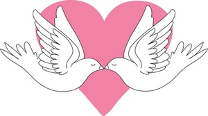 Doves Kissing Clipart Image   Two Kissing Doves In Front Of A Pink