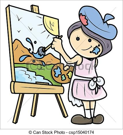 Drawing Art Of Cute Cartoon Girl Painting A Landscape On Painting