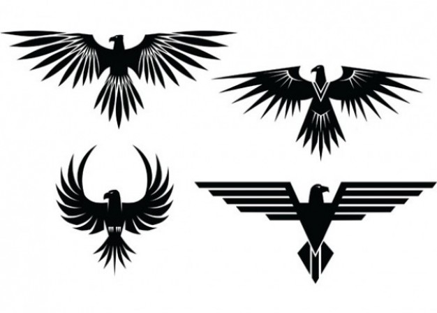 Eagle Tattoos With Spread Wings Vector   Free Download