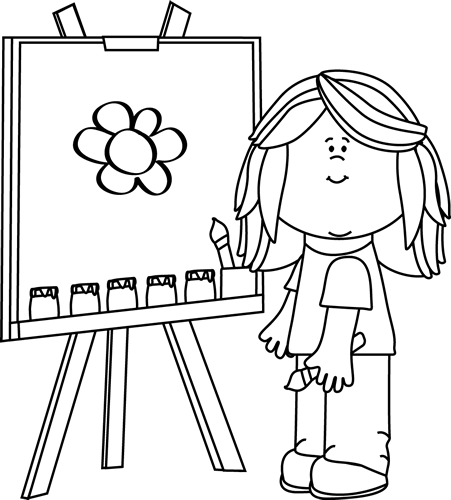 Girl Painting On Easel Clip Art   Black And White Girl Painting On