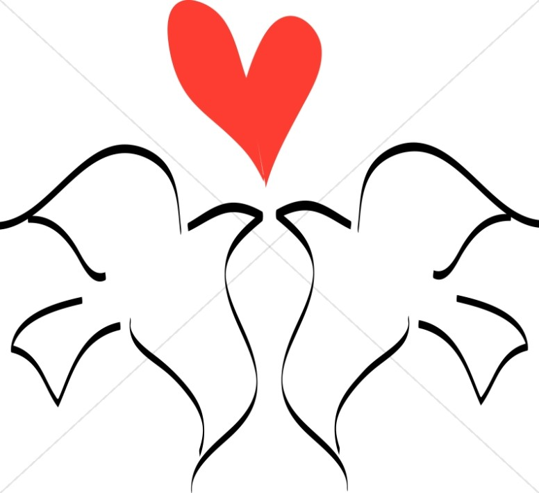 Love Birds With Heart Line Drawing   Dove Clipart