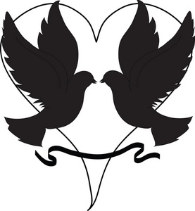 Peace Clipart Image   Doves In Silhouette With A Heart Shape Behind