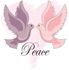 Peace Clipart Image   Two Love Birds Or Doves Of Peace With The Word