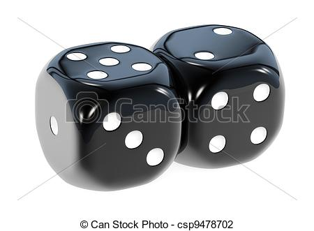 Stock Illustration   Double Black Dice   Stock Illustration Royalty