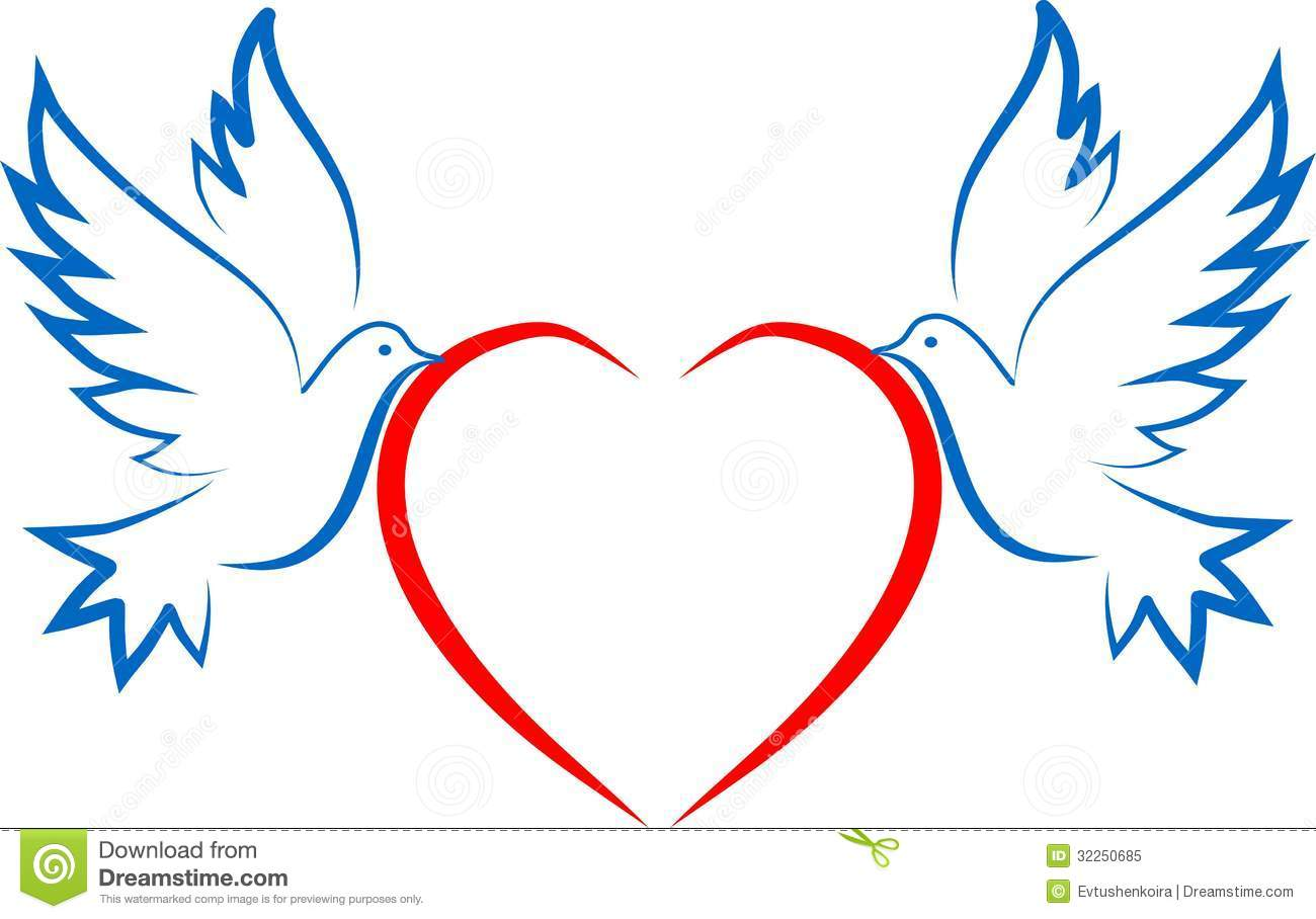 White Dove Carrying A Heart Clipart - Clipart Kid