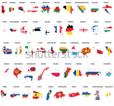 Browse   Miscellaneous   European Country Maps Combination With Flags