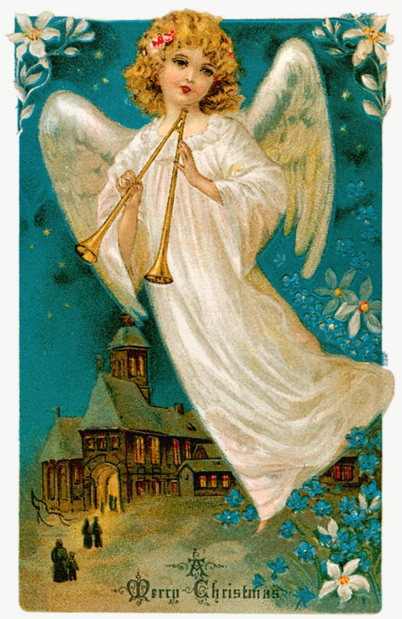 Vintage Christmas Angel Clipart - Clipart Kid