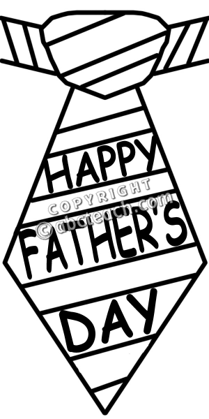 Clip Art  Happy Father S Day Tie B W   Preview 1