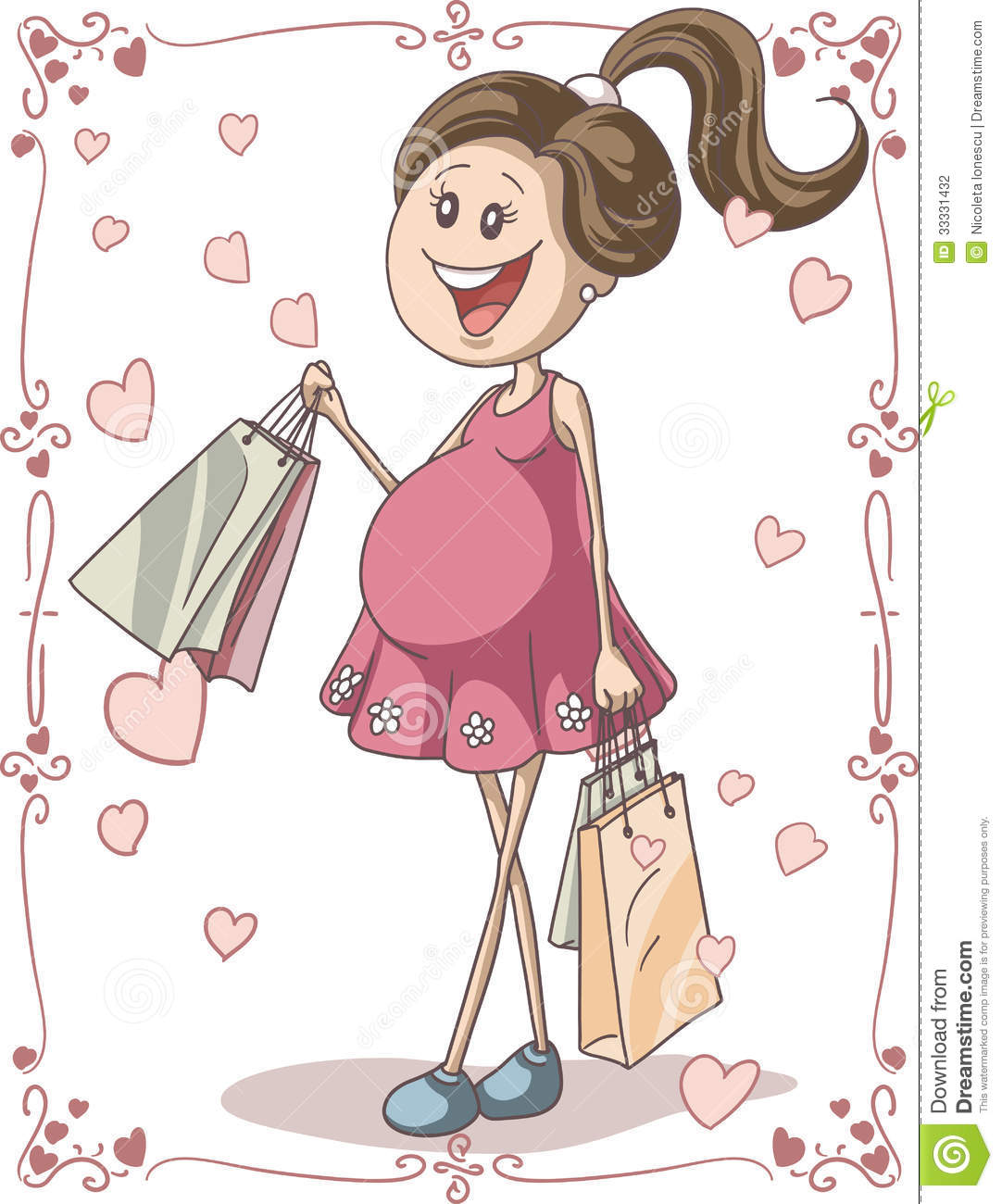 Drawn Cartoon Illustration Of A Pregnant Young Woman With Shopping