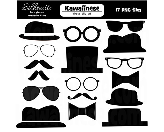 Father S Day Clipart Silhouette Digital Clip Art Mustache Glasses