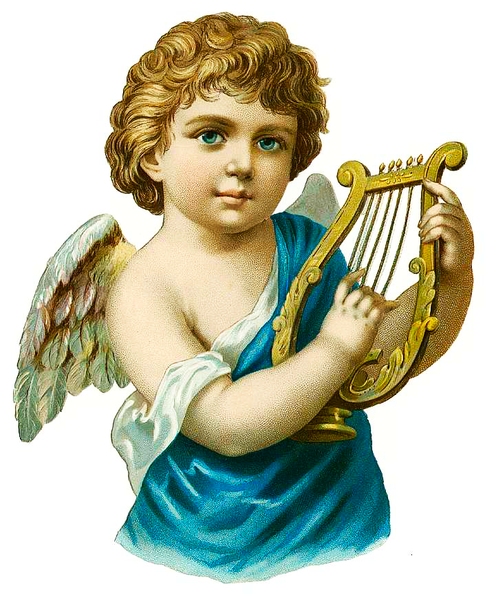 Free Vintage Angel With Harp Clipart