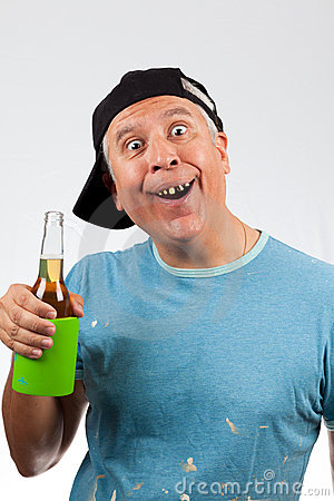 Funny Looking Middle Age Man With Bad Teeth Holding A Beer Bottle