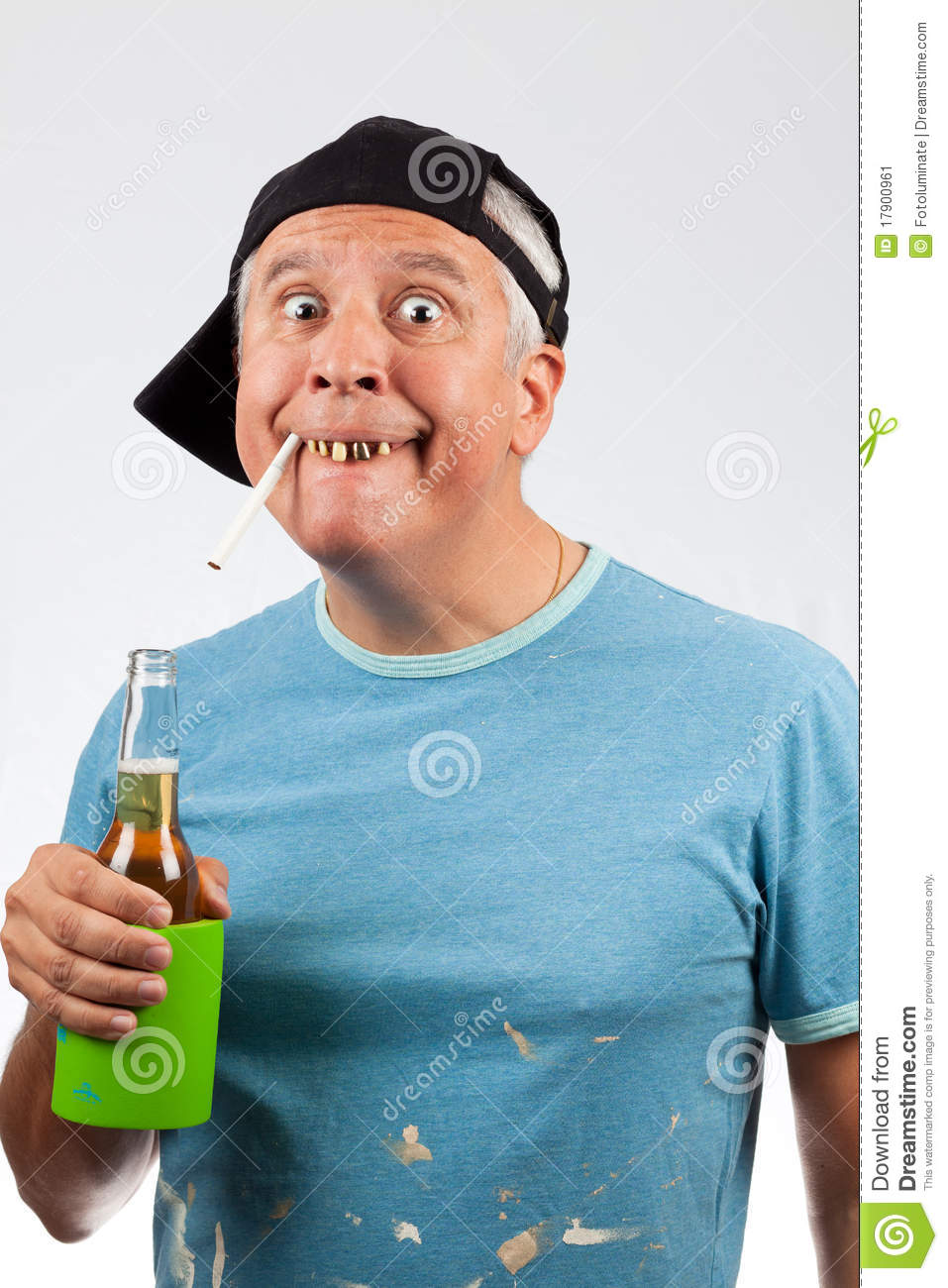 Funny Looking Middle Age Man With Bad Teeth With A Cigarette In Mouth