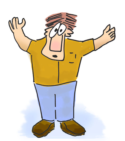 Funny Man With Arms Raised   Silly Characters Clip Art