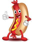 Hot Dog Cartoon Thumbs Up   Royalty Free Clip Art