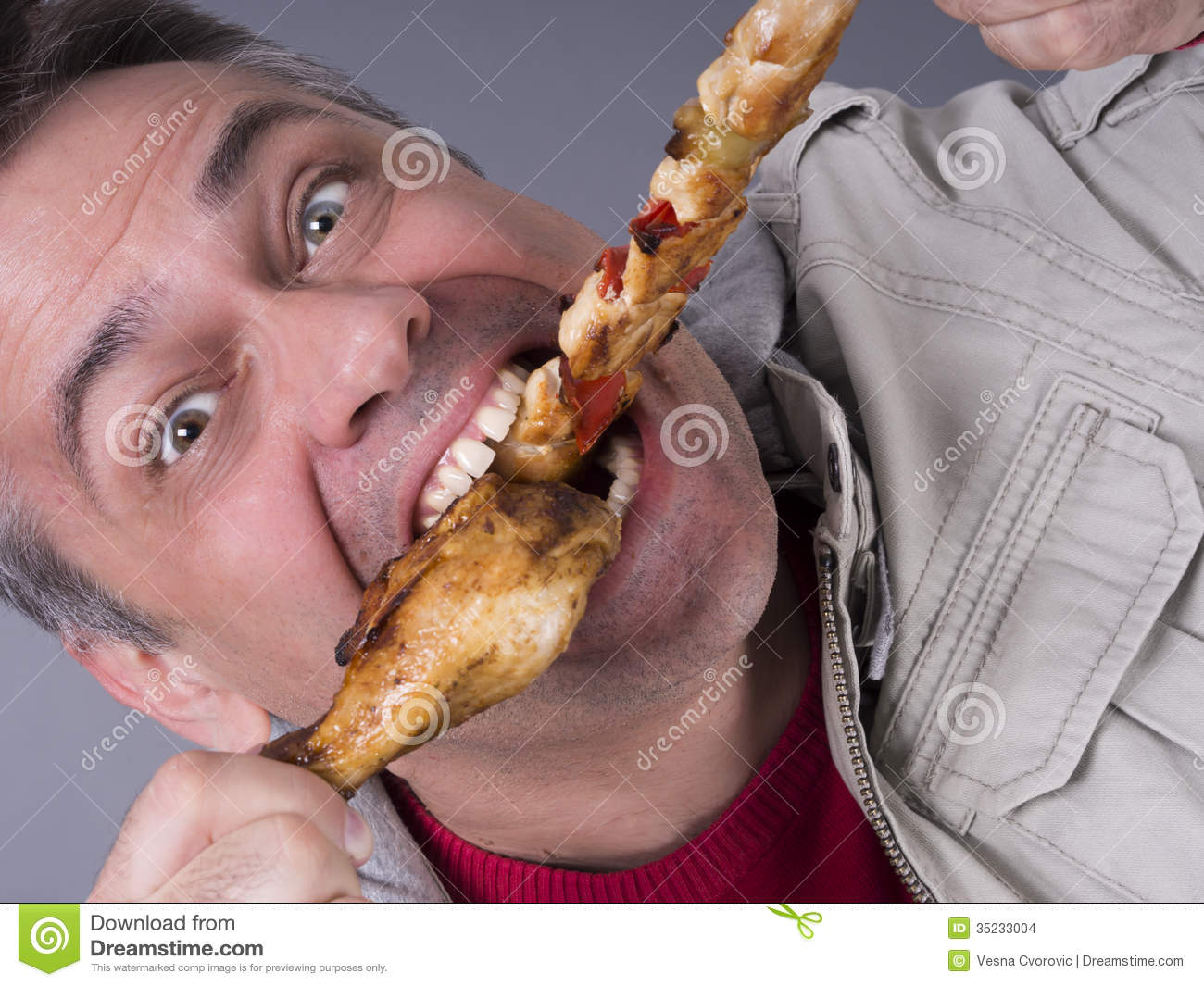 Hungry Meat Eating Man No Diet Stock Images   Image  35233004