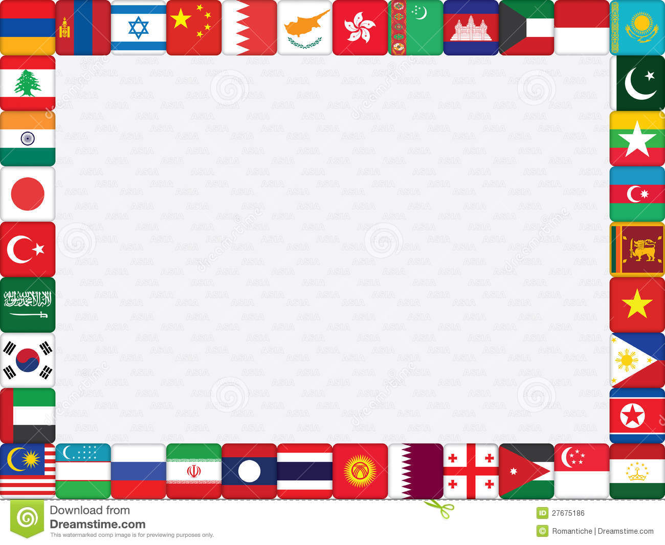 International Flags Border With Asian Countries Flags