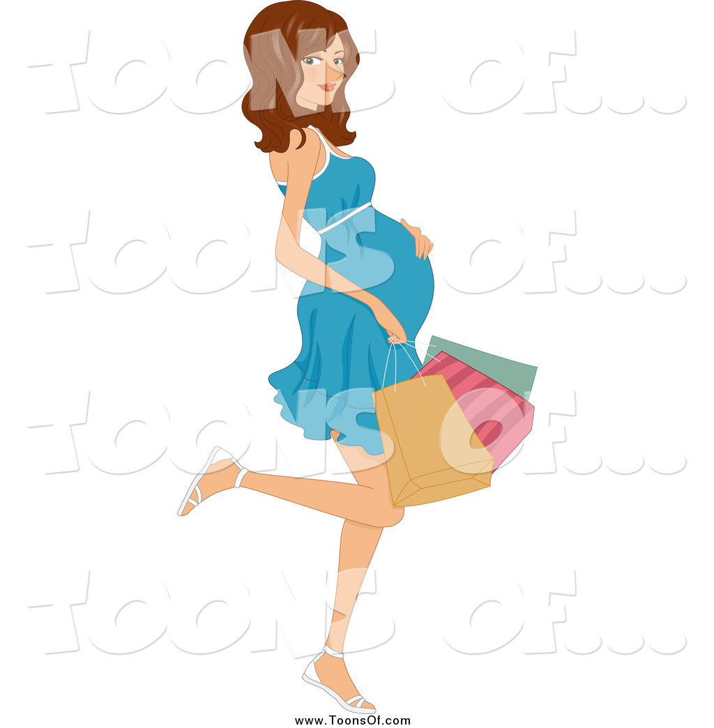 Larger Preview  Clipart Of A Pregnant Brunette Woman Kicking Back A
