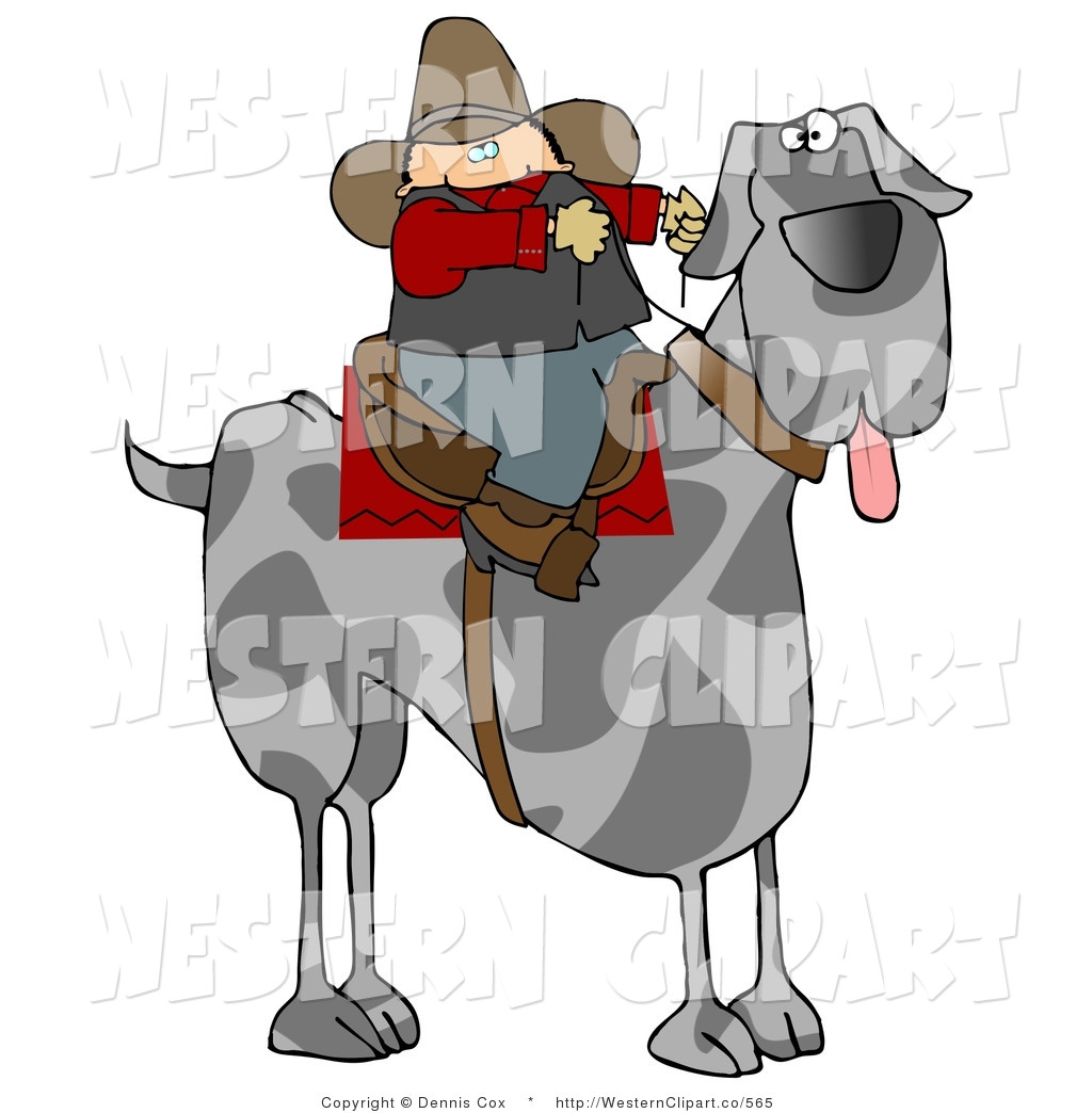 Larger Preview  Western Clip Art Of A Silly Cowboy Man Riding A Giant