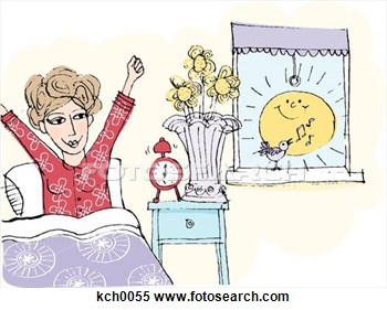 Of A Woman Waking Up From Bed In The Morning Kch0055   Search Clipart