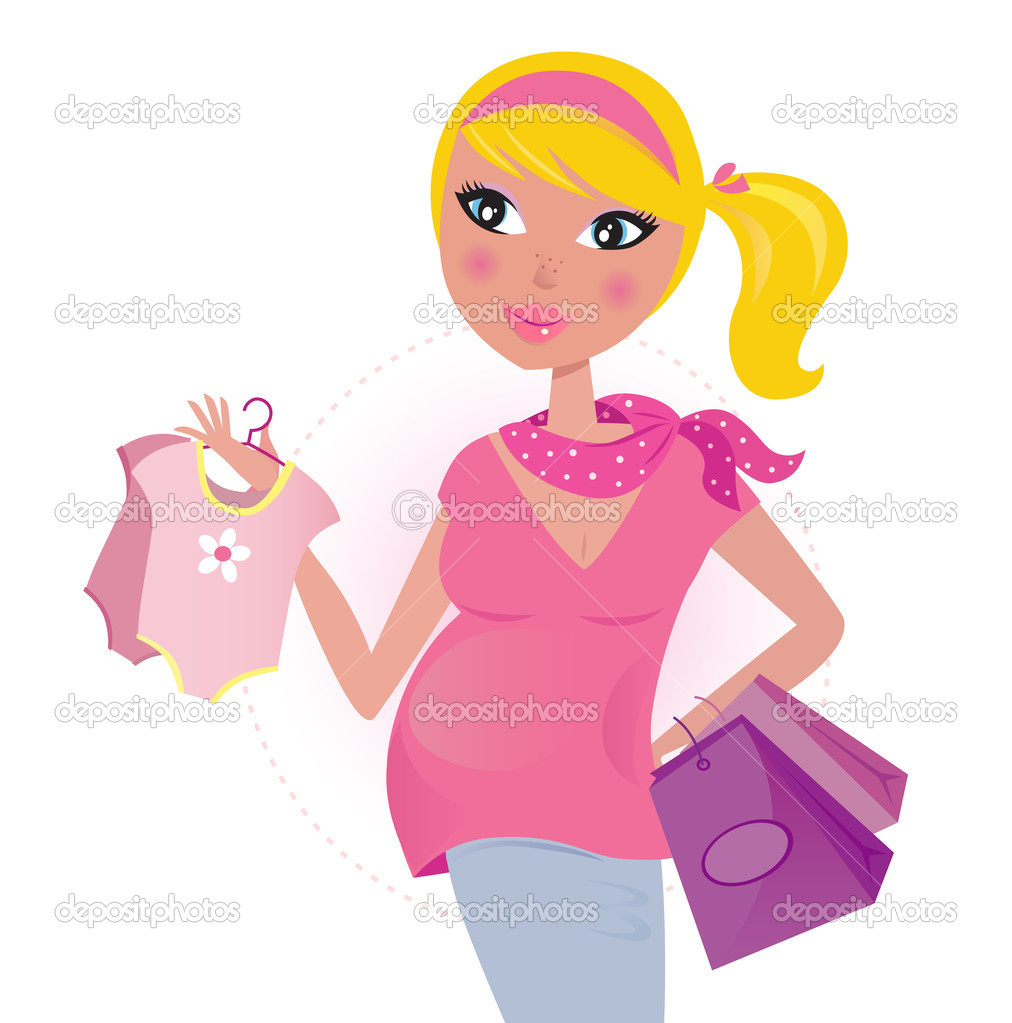 Pregnant Mom On Shopping For Child   Baby Girl   Stock Vector