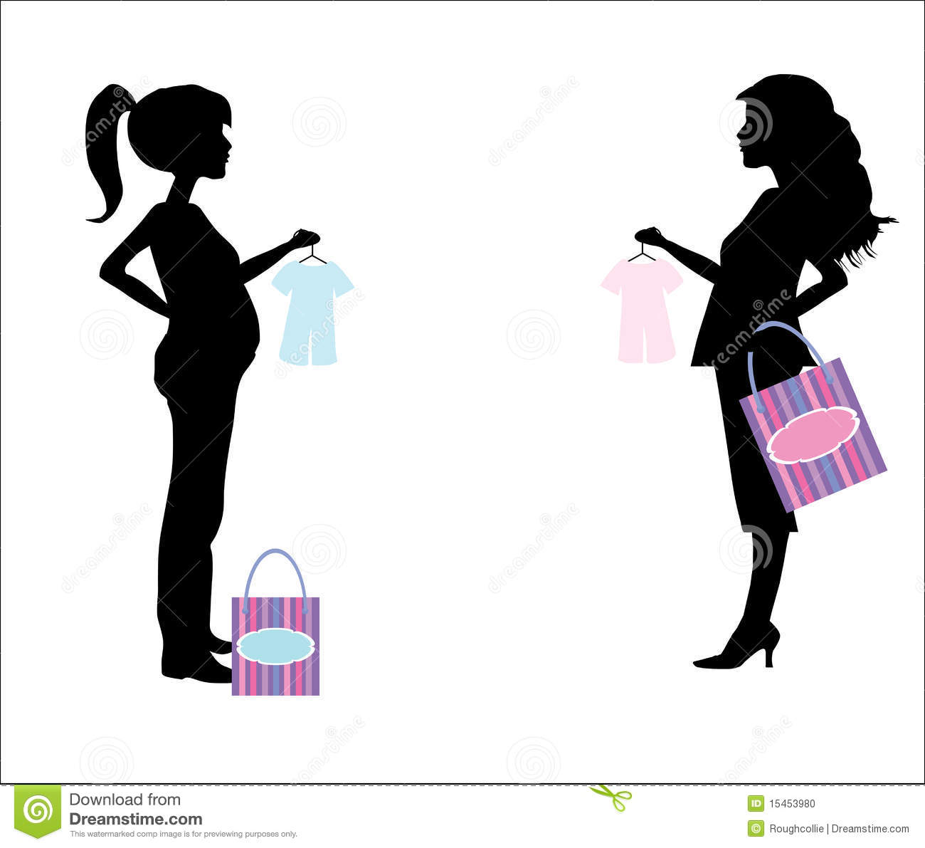 Pregnant Shopping Woman Silhouette Stock Photo   Image  15453980
