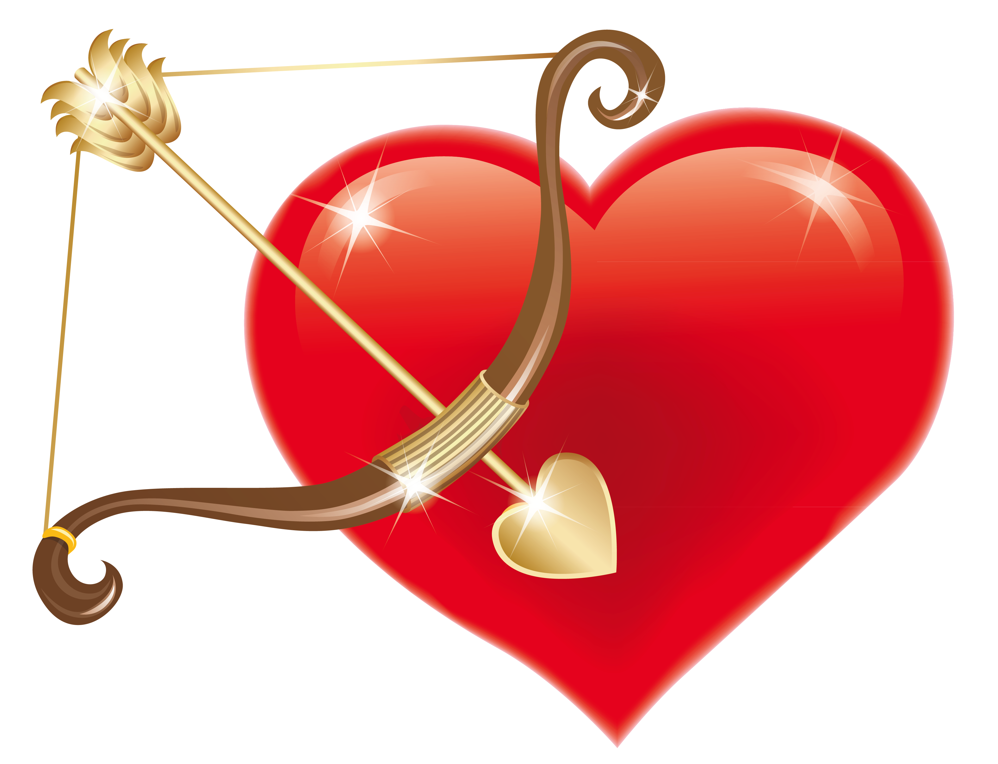 Red Heart With Cupid Bow Png Clipart Picture