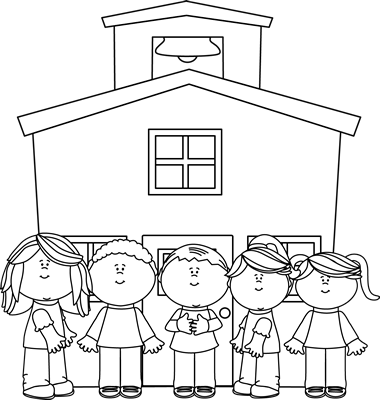 School Kids At School Clip Art   Black And White School Kids At School