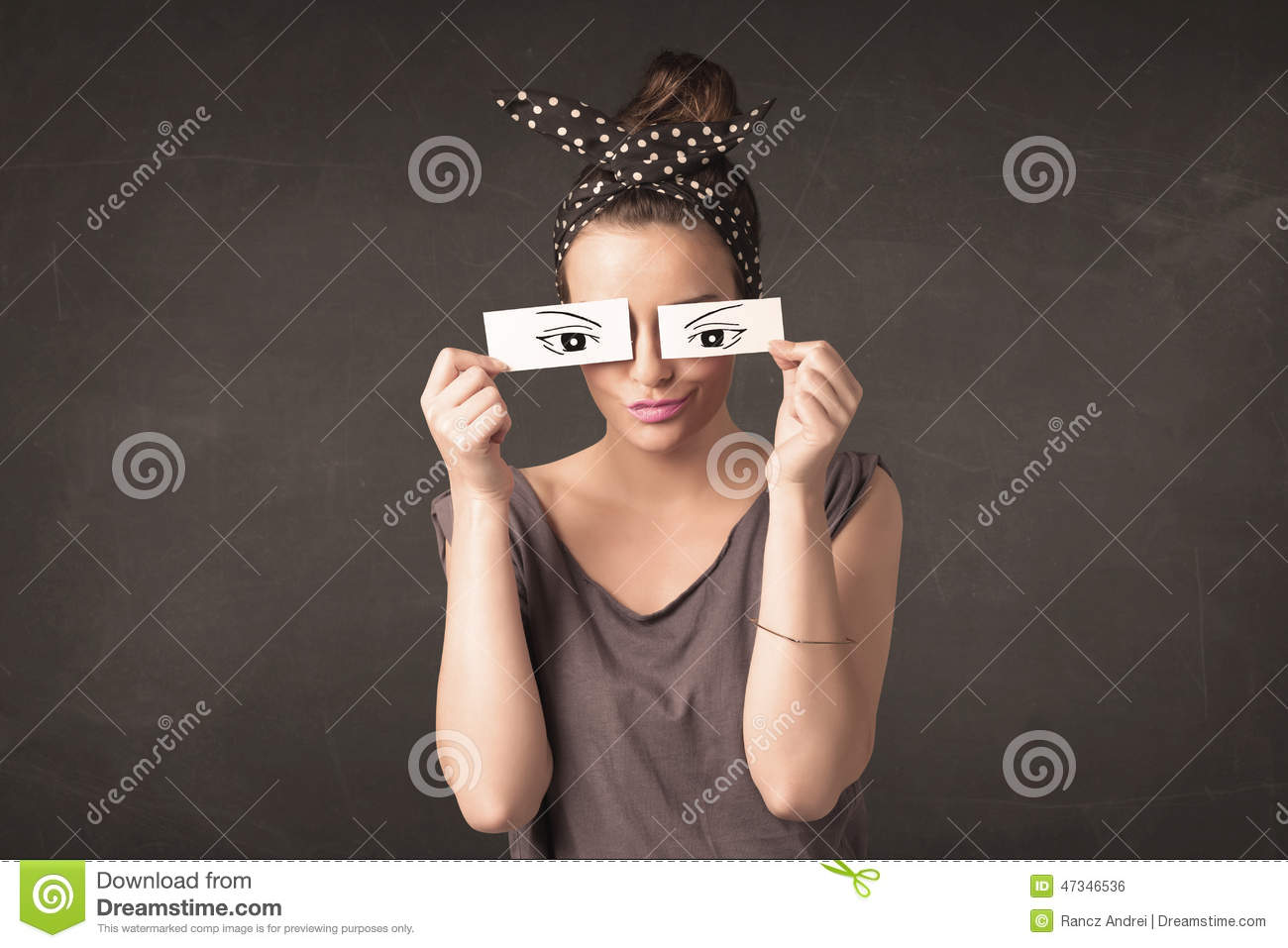 Silly Youngster Looking With Hand Drawn Eye Paper Stock Photo   Image