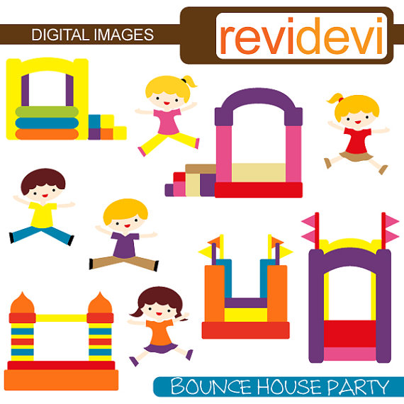 30 Off Sale Bounce House Party Clipart 07303 By Revidevi On Etsy