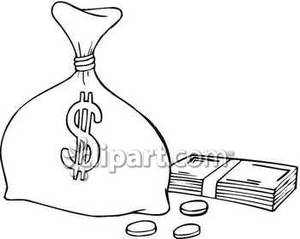 Bag Of Money With Dollars And Coins   Royalty Free Clipart Picture