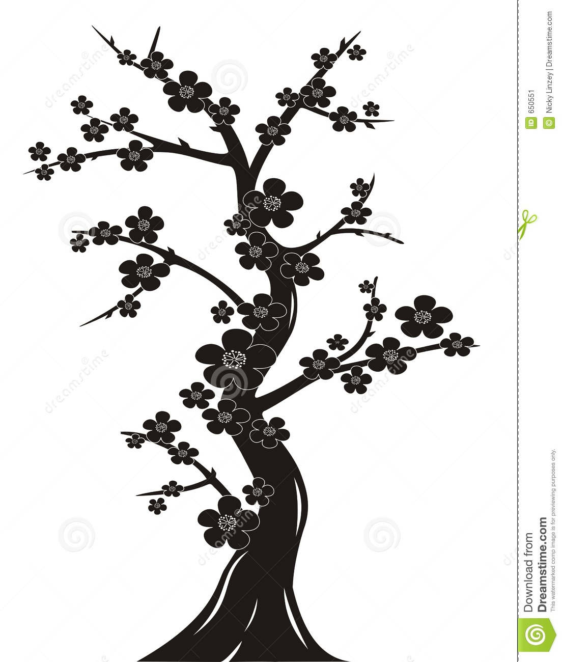 Black And White Silhouette Illustration Of Japanese Style Cherry Tree