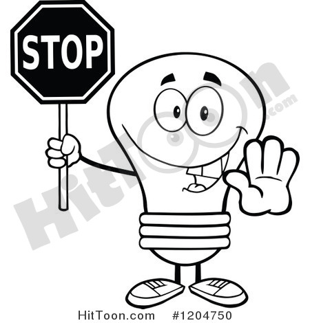 Cartoon Of A Happy Black And White Light Bulb Mascot Holding A Stop
