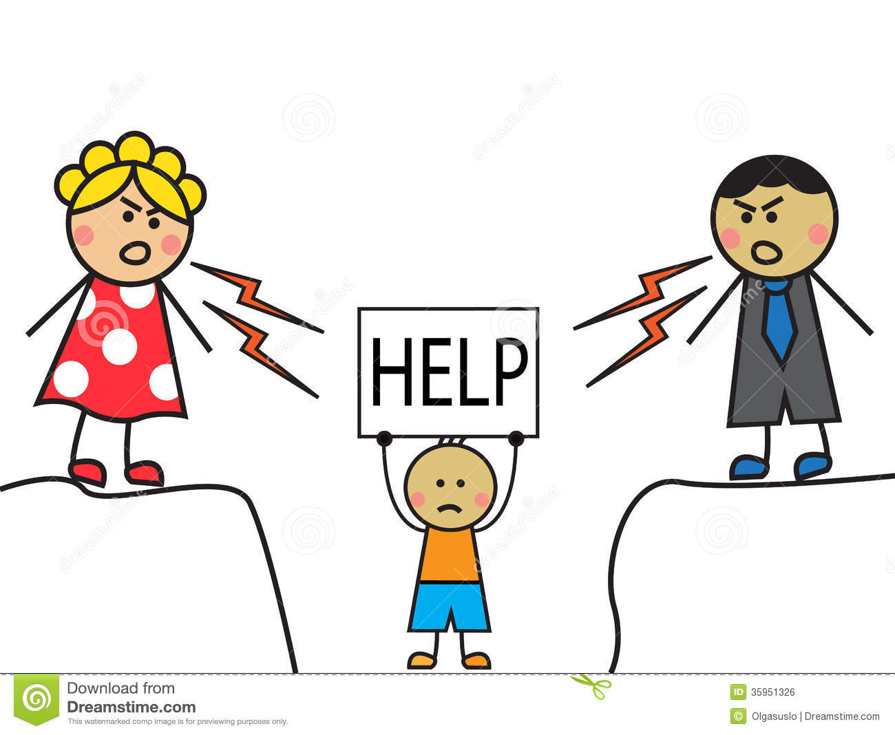 Cartoon Parents Scolded Child The Child Stands With A Sign Help