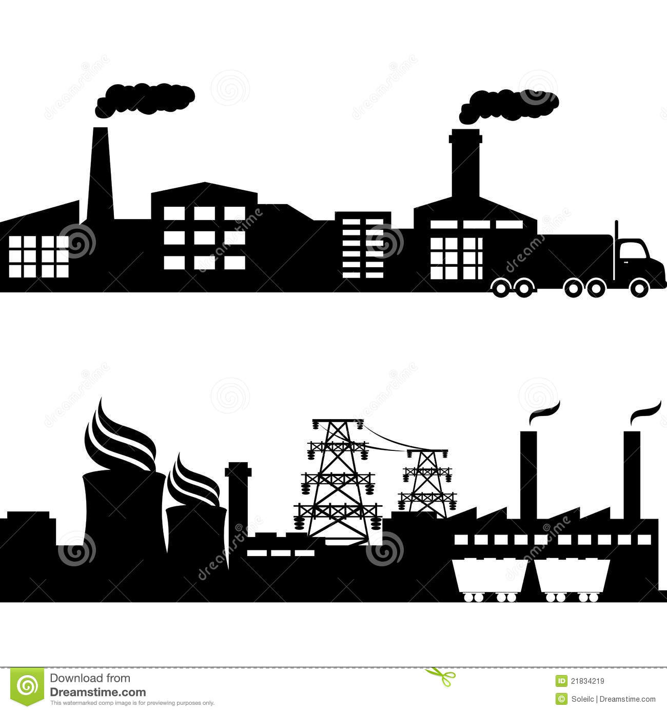 Factory Nuclear Plant Industrial Buildings Royalty Free Stock Images