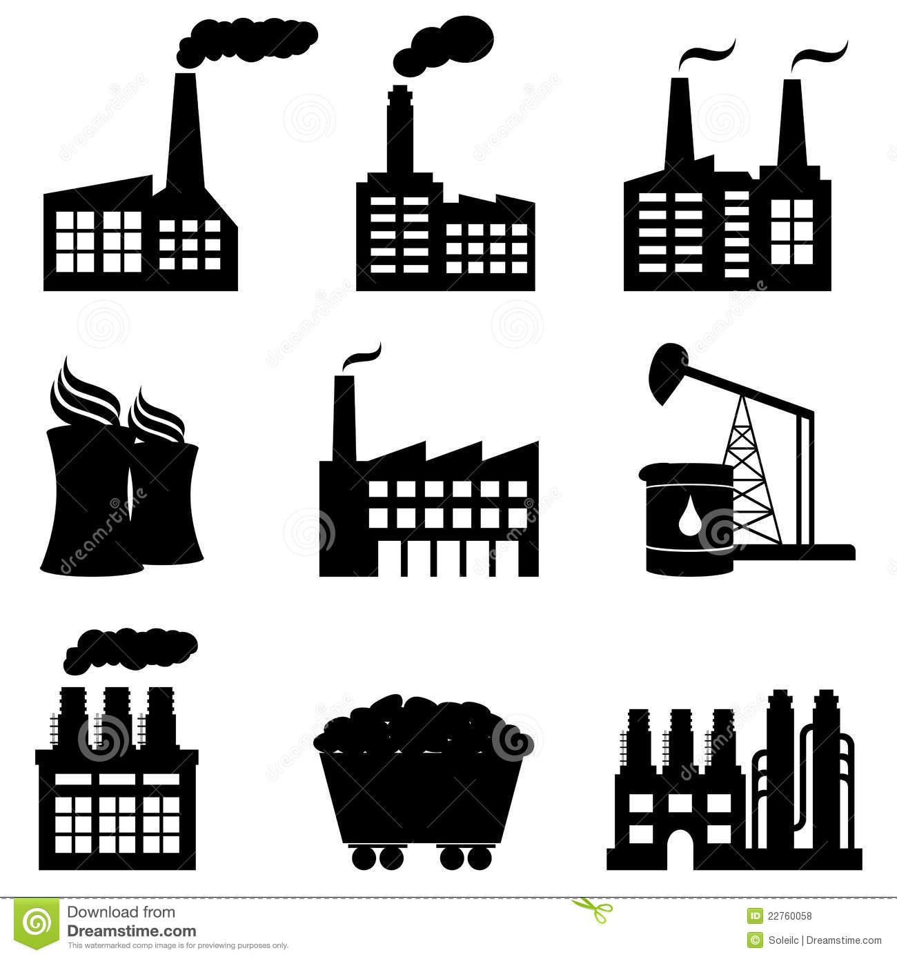 Factory Nuclear Power Plant And Energy Icons Royalty Free Stock