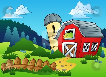 Landscape With Farm And Fence Stock Vector Clipart Landscape With
